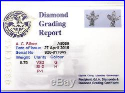 0.70 ct Diamond and 18 ct White Gold Stud Earrings Vintage Circa 1980