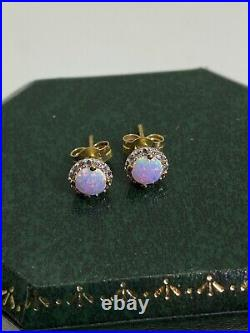 0.80ct Solid Opal & Diamond Vintage Stud Earrings in 9ct Yellow Gold