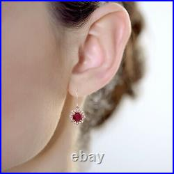 10k Rose Gold Genuine Round Ruby and Diamond Vintage Style Halo Earrings