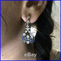 14K Gold Over Vintage Round White Diamond 2.30Ct Drop Dangle Engagement Earrings