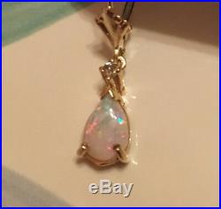 14k Yellow Gold Pear Cut Opal Leverback Earrings with Diamond Accents (VTG)