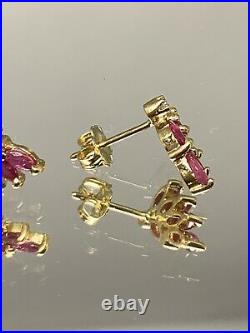 14k Yellow Gold Ruby Marquise And Diamond Earrings 1.5 Grams Spray Vintage