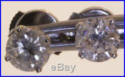 14k white gold 1.00ct SI3 H round diamond stud solitaire earrings estate vintage