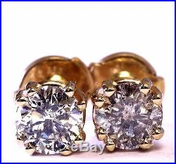 14k yellow gold clutch back 1.30ct SI3 I-M stud earrings estate vintage ladies