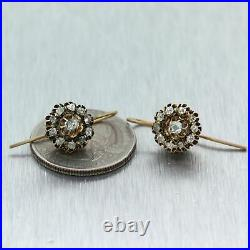 1860's Antique Victorian 14k Yellow Gold 0.50ctw Cluster Diamond Earrings