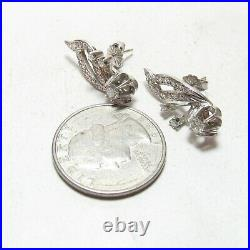 1930s Vintage 14K White Gold Single And European Cut Diamond Earrings 0.75 Cts