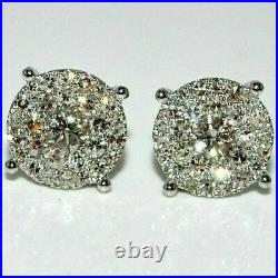 1.50Ct Round Cut VVS1 Diamond Cluster Stud Earrings Solid 14K White Gold Finish