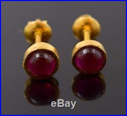 22k 22ct Solid Yellow Gold VINTAGE TINY RUBY STONE DIAMOND CUT EARRINGS E1303