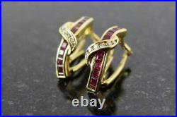 2.1Ct Princess Cut Red Ruby Diamond Vintage Hoop Earring In 14K Yellow Gold Over