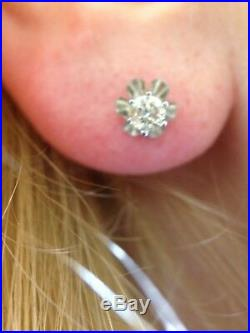 38CT Natural Diamond 14K White Gold Buttercup Vintage Style Earring Stud