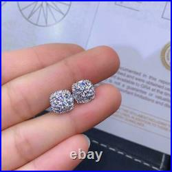 3Ct Round Cut Moissanite& Diamond Halo Stud Earrings Solid 14K White Gold Finish