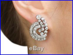 3.35 ct Diamond and 18 ct White Gold Cluster Earrings Vintage Circa 1950