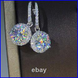 4Ct Round Attractive Cut Moissanite Drop & Dangle Earrings 18K White Gold Over