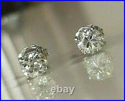 70%off Amazing 1.10ct G Si1 Natural Antique Diamond Stud Earrings 14k White Gold