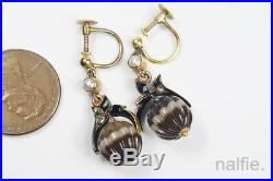 ANTIQUE ENGLISH GOLD DIAMOND CARVED BANDED AGATE ORB DROP EARRINGS c1880