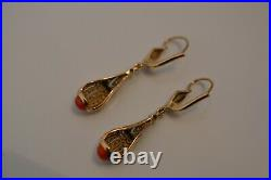 Antique ART DECO 18k Gold Diamond Onyx and Coral Earrings Cocktail Ring 5.1 Gr