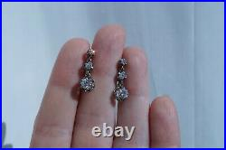 Antique French 18k Gold Platinum Old Cut Diamond Earrings