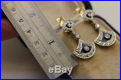 Antique Original 14k Gold Russian Diamond And Enamel Earring And Ring Set
