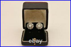 Antique Ottoman 14k Gold Natural Rose Cut Diamond Decorated Amazing Earring