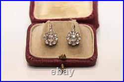 Antique Ottoman 14k Natural Rose Cut Diamond Decorated Amazing Earring
