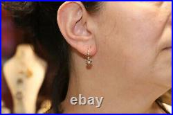 Antique Victorian 14k Gold Natural Rose Cut Diamond Decorated Earring