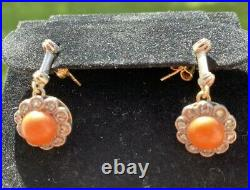 Antique Victorian Salmon Red Coral Diamond 14k Gold Silver Dangle Earrings