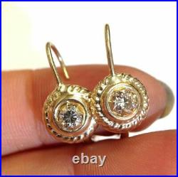 Antique Victorian Style 14K Gold. 40 CT Natural Champagne Diamond Earrings