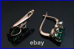 Antique Vintage 4 Ct Emerald Green Diamond Solitaire Earrings 14K Rose Gold Fn