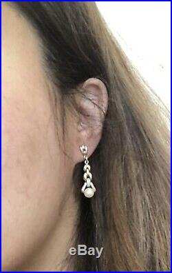 Antique Vintage Solid 9ct Gold Diamond Pearl Drop Earrings Dangle