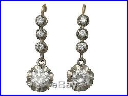 Antique and Vintage French 1.54Ct Diamond and 18k Yellow Gold Drop Earrings