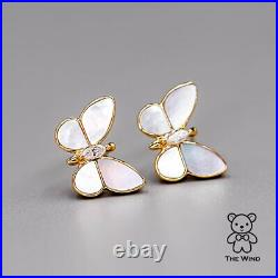 Beautiful Butterfly Diamond Stud Earrings with Mother of Pearl 18K Yellow Gold