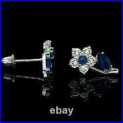 Botnical Style Floral Stud Vintage Earring 2Ct Diamond & Sapphire 14k White Gold