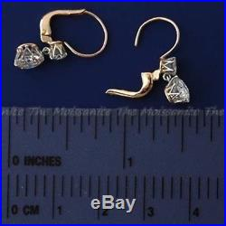 Certified Vintage 3.99Ct Diamond Art Deco Antique Rose Gold Over Dang Earring