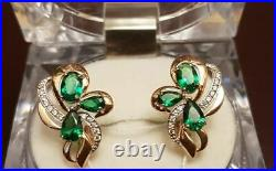 Earrings with large emerald (lab) + CZ, Russian gold soviet style ussr, gift NEW