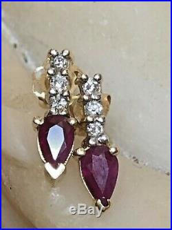 Estate Vintage 14k Yellow Gold Natural Red Ruby & Diamond Earrings Drop
