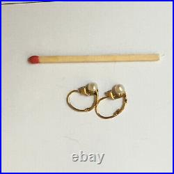 French Antique Diamond and Fine Pearl BABY Earrings 750 / 18 K Yellow Gold Rare