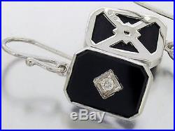 Genuine 9ct SOLID White Gold Natural Diamond & Onyx Drop Earrings Vintage style
