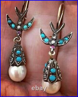 Gorgeous Victorian Gold Silver Earrings with Swallows Turquoise Pearls Diamonds