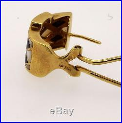 Heavy vintage 14k yellow gold 0.16ct diamond onyx Mother of Pearl earrings