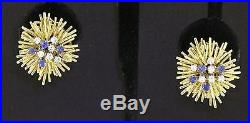 Heavy vintage 18k yellow gold 1.36ct VS2/G diamond and sapphire cluster earrings