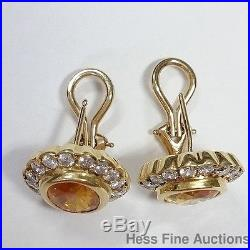 Incredible 5ctw Natural Yellow Sapphire 1.5ct Diamond Vintage 1980s Earrings