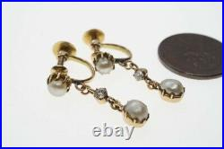 LOVELY ANTIQUE ENGLISH 15K GOLD DIAMOND NATURAL PEARL EARRINGS c1890