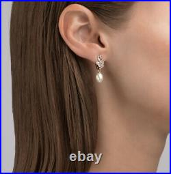 NEW Russian Earrings gold Rose gold 14K 585 Russia diamond lab, pearl USSR style