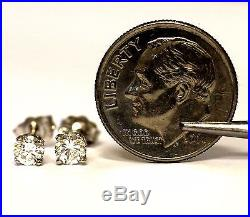 New 14k white gold. 42ct round cut diamond stud earrings SI1 SI2 H vintage 0.7g