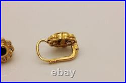 Old Original Russian 18k Gold Natural Diamond And Sapphire Decorated Earring