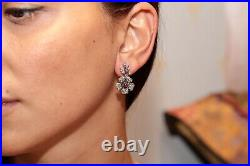 Old Original Vintage 18k Gold Natural Diamond And Ruby Decorated Pretty Earring