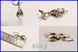 Old Vintage 8k Gold Natural Diamond And Pearl Decorated Pretty Earring