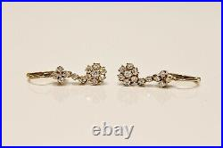 Perfect Vintage 14k Gold Natural Diamond Decorated Pretty Earring