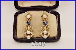 Perfect Vintage 18k Gold Diamond Sapphire And Pearl Decorated Pretty Earring