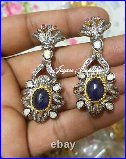 Real Sapphire Gemstone With Rose Cut Polki Diamond Earring 925 Sterling Silver